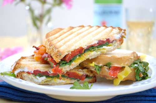 Roasted Red Pepper, Goat Cheese and Baby Arugula Panini