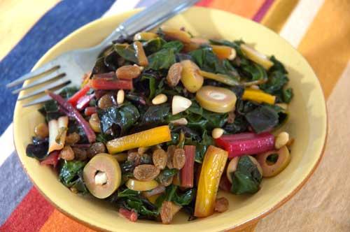 Rainbow Chard with Garlic Stuffed Olives | Jeff's Naturals