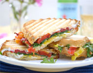Jeff's Garden - Roasted Red Pepper, Goat Cheese and Baby Arugula Panini