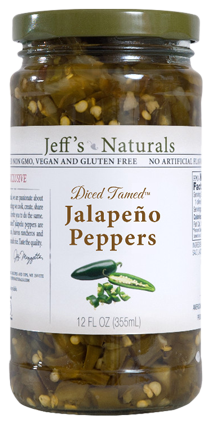 Jeff's Naturals Diced Tamed Jalapeño Peppers