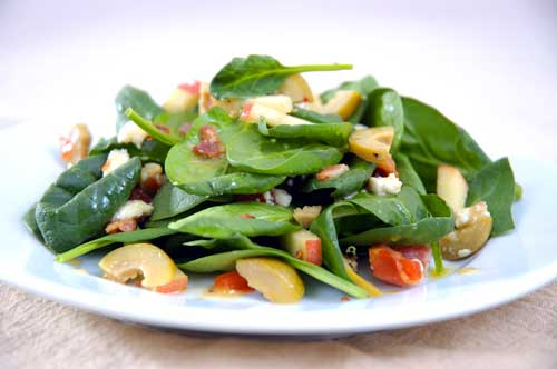 Recipe: Spring Spinach Salad with Blue Cheese Stuffed Olives