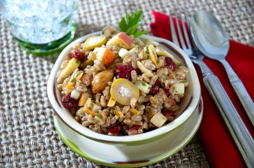 Farro Salad with Blue Cheese-Stuffed Olives, Apples and Roasted Garlic