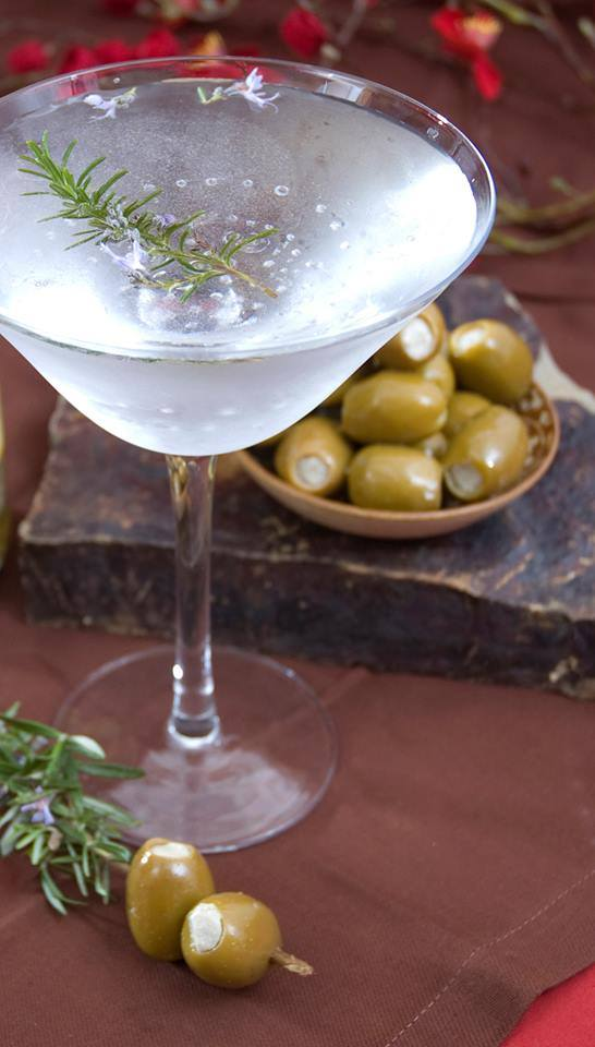 Cheese Stuffed Olives Martini