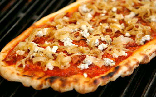 Grilled Pizza with Bacon, Blue Cheese and Caramelized Onion