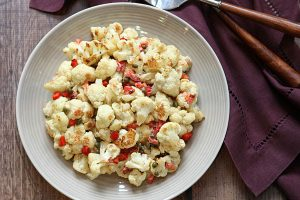 Roasted Cauliflower with Tahini, Jeff's Naturals Capers & Roasted Red Peppers