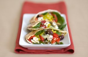 Stuffed Greek Pita with Jeff's Naturals Organic Sliced Kalamata Olives & Sliced Golden Greek Peperoncini