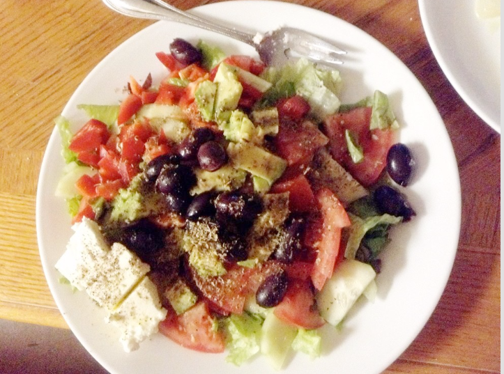 """This is the fantastic Greek Salad I made with  Peperoncini, Kalamata Olives and Roasted Bell Pepper Strips. I used your recipe (for Greek Salad), but used a beefsteak tomato, and added avocado. Thanks, Jeff's Naturals!"" - Submitted by John B. via Facebook"