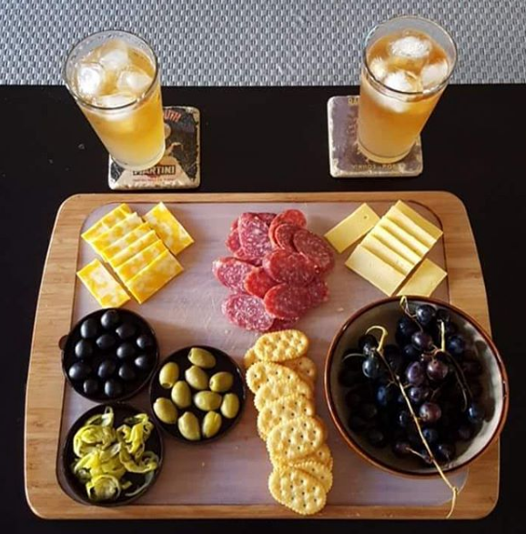 We think this delicious looking plate of finger food is a fabulous way to enjoy our Sliced Golden Greek Peperoncini. Combine this with cheese, crackers, olives and salami with a refreshing beverage, and you have a winner!  Submitted by Instagram user jmazur007