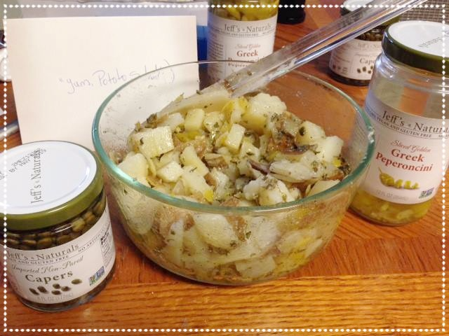This Jeff's Naturals fan added our Non-Pareil Capers and Sliced Golden Greek Peperoncini to her potato salad for a knock out side dish! For the recipe, visit Peperoncini Potato Salad on our site. Shared by Kathleen C. on Facebook.