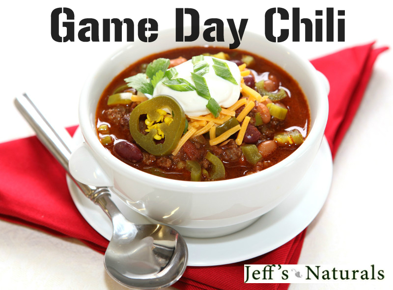 Jeff's Naturals Game Day Chili: A good hot bowl of chili is the ultimate game day dish, and happens to be one of our favorite new recipes!