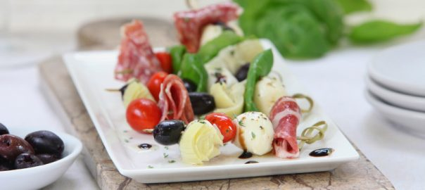 Antipasto Skewers with Jeff's Naturals Marinated Artichoke Hearts