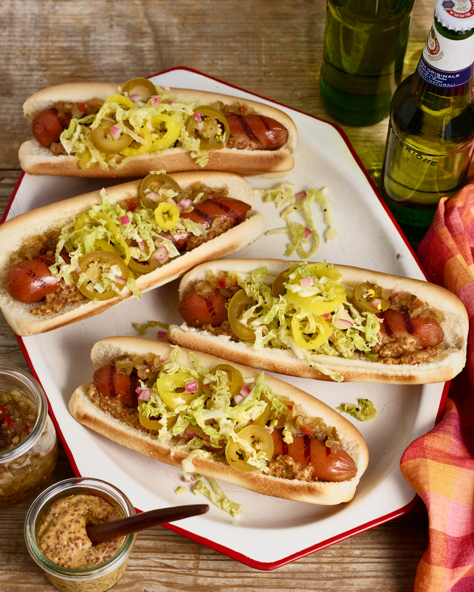 Grilled Hot Dogs Pepper Slaw Jeff's Naturals