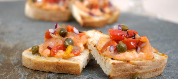Smoked Salmon and Roasted Red Bell Pepper Bruschetta