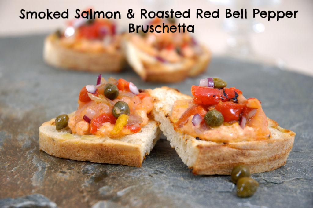 Smoked Salmon & Roasted Red Bell Pepper Bruschetta