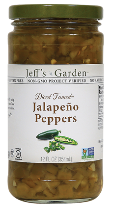 Jeff's Garden Diced Tamed™ Jalapeño Peppers