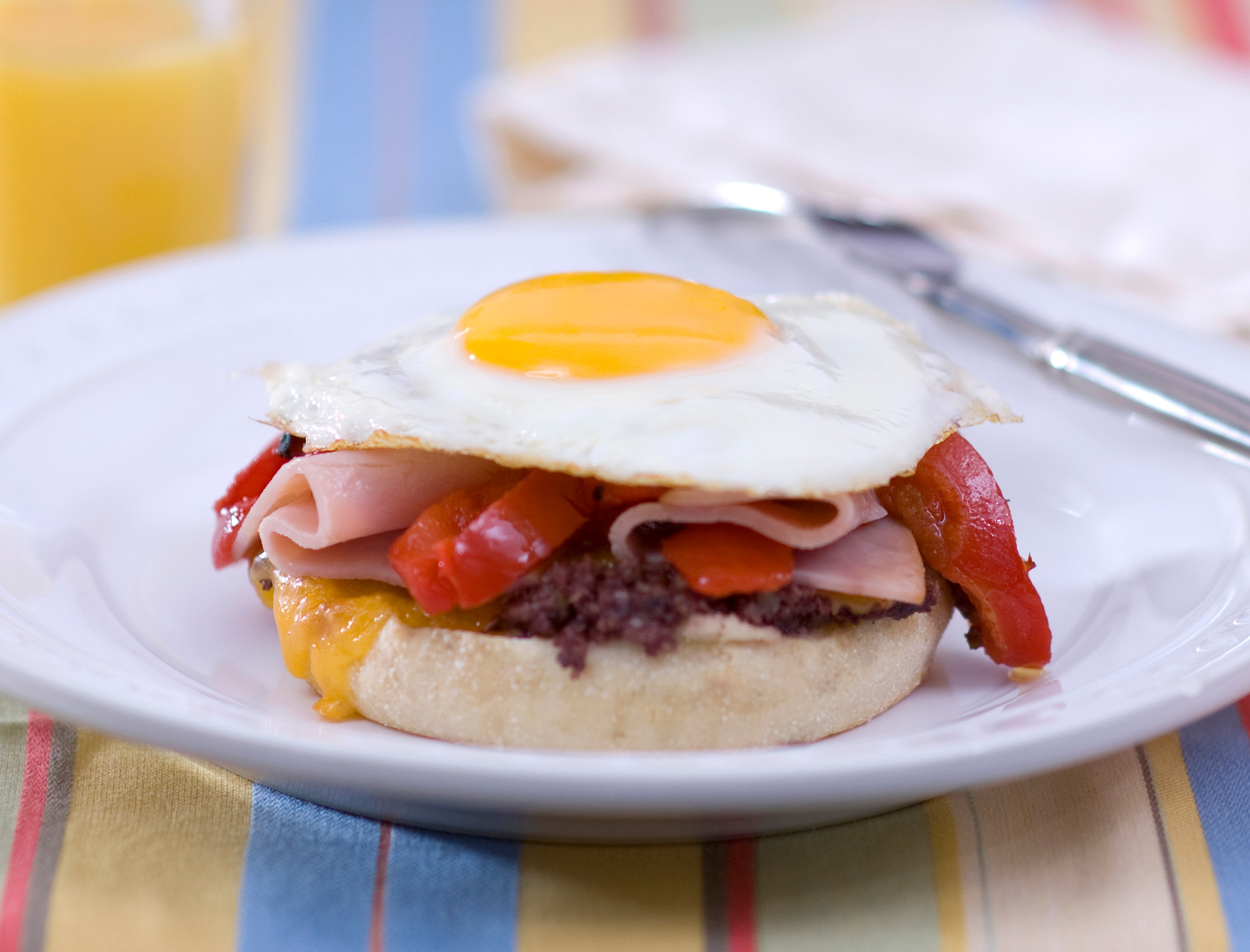 Open Faced Egg Sandwich with Olives & Peppers
