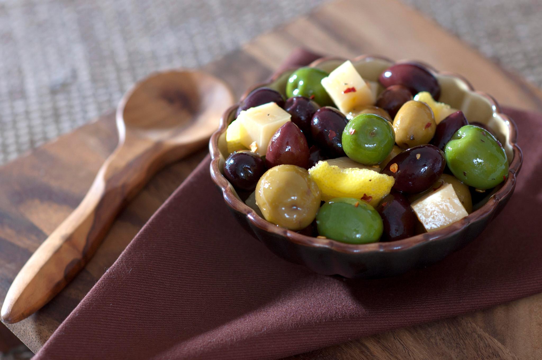 Marinated Mixed Olives with Manchego
