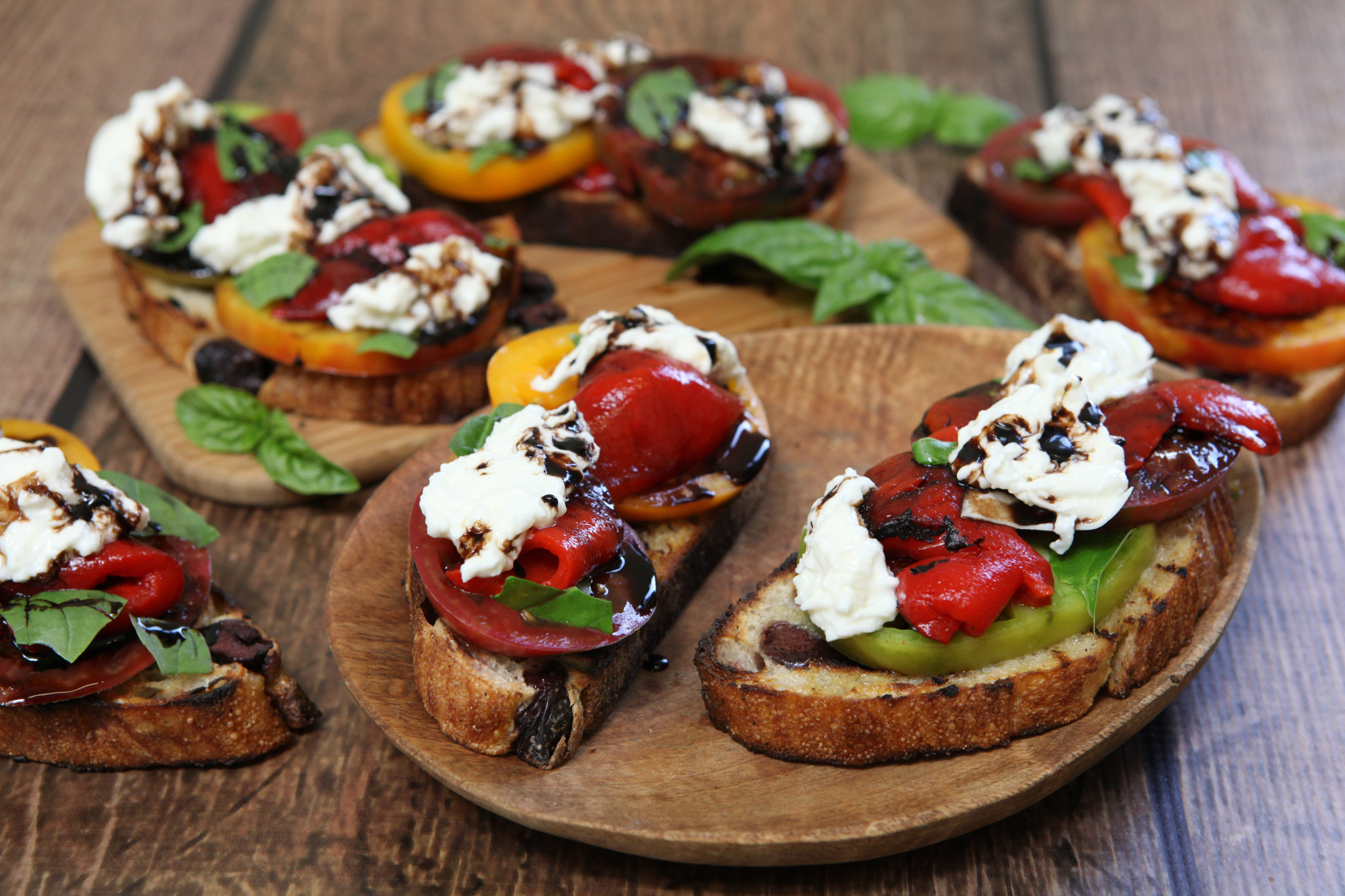 Bruschetta with Roasted Red Peppers & Cheese