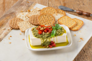 Pesto Cream Cheese Dip with Red Peppers